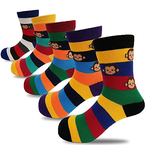 Toddler Boys Monkey (Baby Toddler Boys Colorful Cute Monkey Fashion Cotton Crew Socks 6 Pack(3-7 Years))