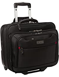 Streeterville 1680d Polyester Triple Compartment Top Zip Laptop Portfolio Overnighter, Black