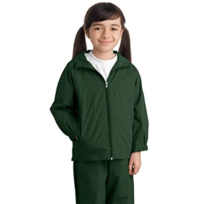 Sport Tek Youth Hooded Raglan Jacket-XS (Forest Green)