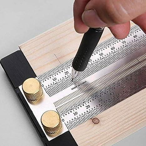 180mm Regla de marcado de ultra precisi/ón regla de orificio de tipo T Herramienta de medici/ón de acero inoxidable
