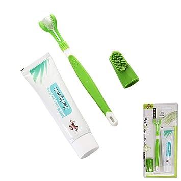 Basisago Higiene Dental Cepillo de Dientes de Mascota de Pasta de Dientes, Kit de Cepillo de Dientes de 3 Cabezas Herramienta de Limpieza para Cuidado ...