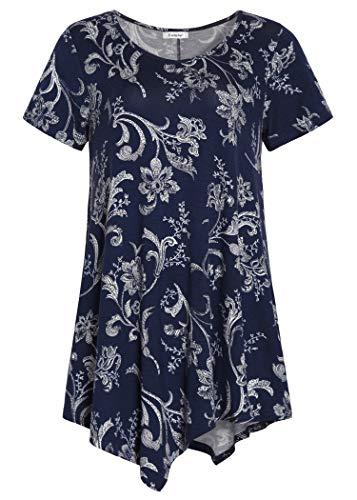 Esenchel Women's V-Neck Swing Shirt Casual Tunic Top for Leggings M NavyBlossom ()