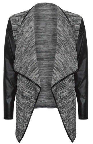 Womens Grey Leather Sleeved Waterfall Cardigan