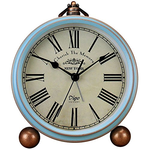 JUSTUP Table Clock, Vintage Non-Ticking Table Desk Alarm Clock Battery Operated with Quartz Movement HD Glass for Bedroom Living Room Kids (Roman)