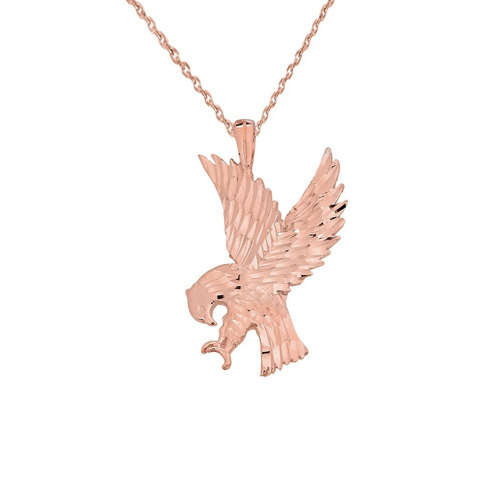 Fine 14k Rose Gold Sparkle Cut American Eagle Pendant Necklace