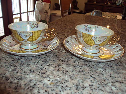 Floral Demitasse Cup - 2 Elegant Demi Cups Saucers Opalescent Gold Floral Design Saucer Cutouts