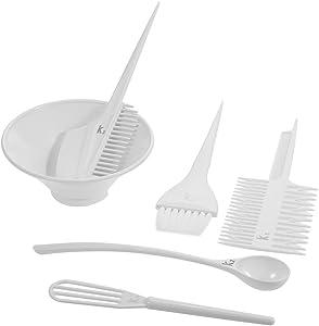 6Pcs Salon Hair Coloring Dyeing Kit Brush Comb Bowl White Hair Tint Bowl Mixing Tool DIY Hair Colouring Tool Set