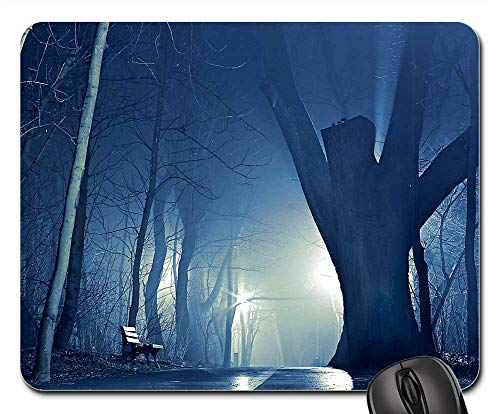 (Mouse Pad - Night Park The Fog Tree Glow Giant The Path)