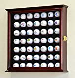 49 Golf Ball Display Case Cabinet Rack Stand Holder w/ UV Protection -Cherry Finish