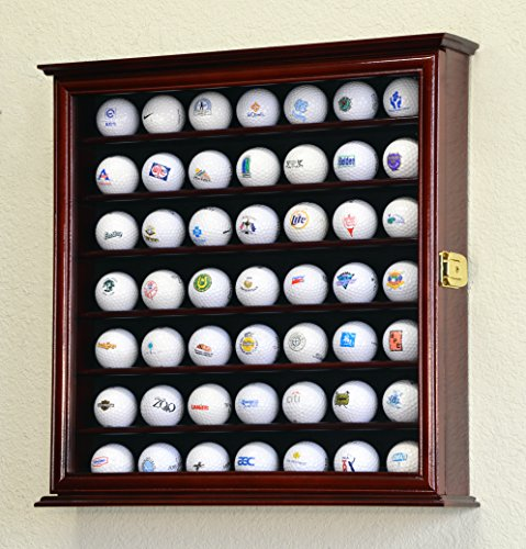 - 49 Golf Ball Display Case Cabinet Rack Stand Holder w/ UV Protection -Cherry Finish