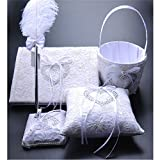 FYSTORE 4 IN 1 Set Wedding Accesorries Sets Wedding Guest Book +Pen Set +Flower Girl Basket + Ring Pillow, Double Hearts Rhinestone Elegant Wedding Ceremony Party Favor Sets