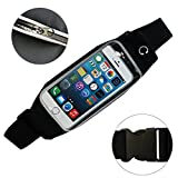 SOOKEY Running Waist Pack Light Weight Sweatproof Sport Waist Belt Bag with Hiden Pouch Fit for iPhone 6 Plus 6S Plus iPhone 7 Plus Galaxy Note 1 2 3 4 and other 5.5 inch Mobile Phone (Black)