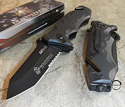MOON KNIVES USMC Marines Spring Assisted Open Black G10 Tactical Tanto Pocket Rescue Knife