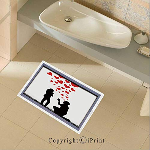 Removable DIY Floor Stickers Decor Wedding Proposal of Romantic Couple with Hearts Image for Home Walls Floor Ceiling Kids Nursery Room Boy Girls Bedroom Bathroom Living Room,35.4