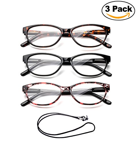 Newbee Fashion - Slim Cat Eye Translucent Tortoise Shell Fashion Reading Glasses for Women with - Glasses Tortoise Womens Shell