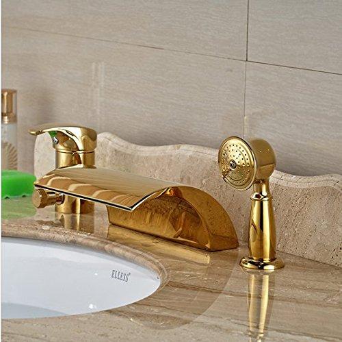 GOWE Modern Golden 3pcs Widespread Bathroom Waterfall Tub Filler Faucet Hand Shower Set Mixer Taps 1