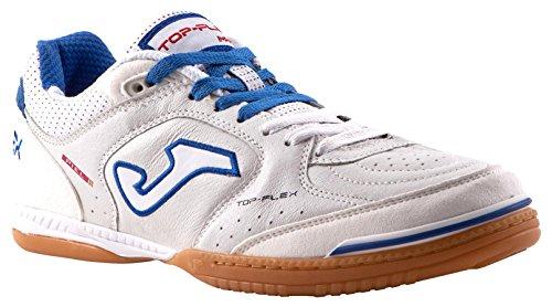 Joma Top Flex, Zapatos de Futsal Unisex Adulto Blanco (White-black-orange)