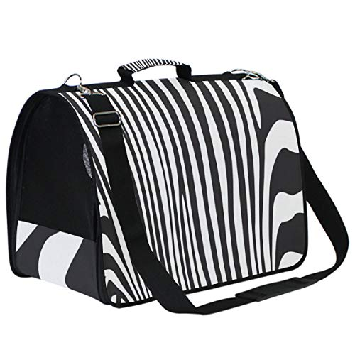 Use4 Zebra Print Stripe Pet Carrier Travel Bags Sided Portable Airplane Tote Bag Backpack for Cats and Dogs