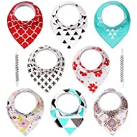 8-Pack Abestbox Pacifier Clips+Baby Drooling and Teething Bibs