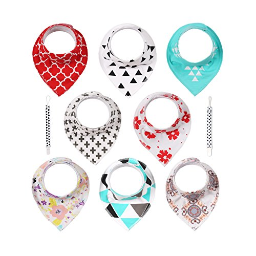Pack of 8 Baby Bandana Drool Bibs, Abestbox Baby Drooling and Teething Bibs + 2 Pacifier Clips ()