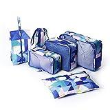 Travel Packing Cubes Luggage Bags Waterproof Suitcase Organizers (6 Pcs Set) Shoe Bag