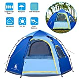 Rxlife Instant Family Camping Tent for 3-4 Person Large Automatic Pop Up Sundome Tents Waterproof with Vent Mesh Doors and Windows - Ideal Shelter for Outdoor Backpacking Hiking Travel Beach