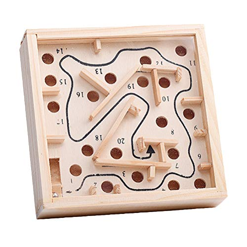 Toyvian Wooden Labyrinth Puzzle Maze Game Educational Toys Balancing Beads Board for Kids and Adults ()