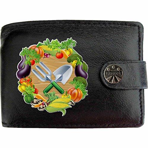 Garden Tools and Vegetables Gartengeräte und Gemüse Klassek Herren Geldbörse Portemonnaie Brieftasche aus echtem Leder schwarz Geschenk Präsent mit Metall Box PbwLf