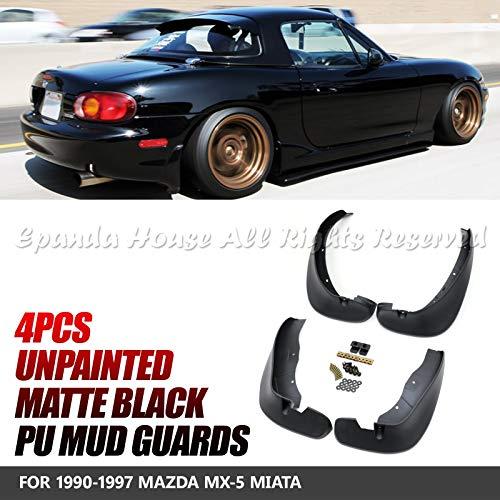 EpandaHouse for 1990-1997 Mazda MX-5 Miata JDM Style Mud Guards Splash Fender Flaps Protector 4Pc Set ABS - Miata Side Skirts