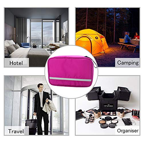 Travel Toiletry Bag Business Toiletries Bag for Men Shaving Kit Waterproof Compact Hanging Travel Cosmetic Pouch Case for Women (Hot Pink) by Relavel (Image #6)