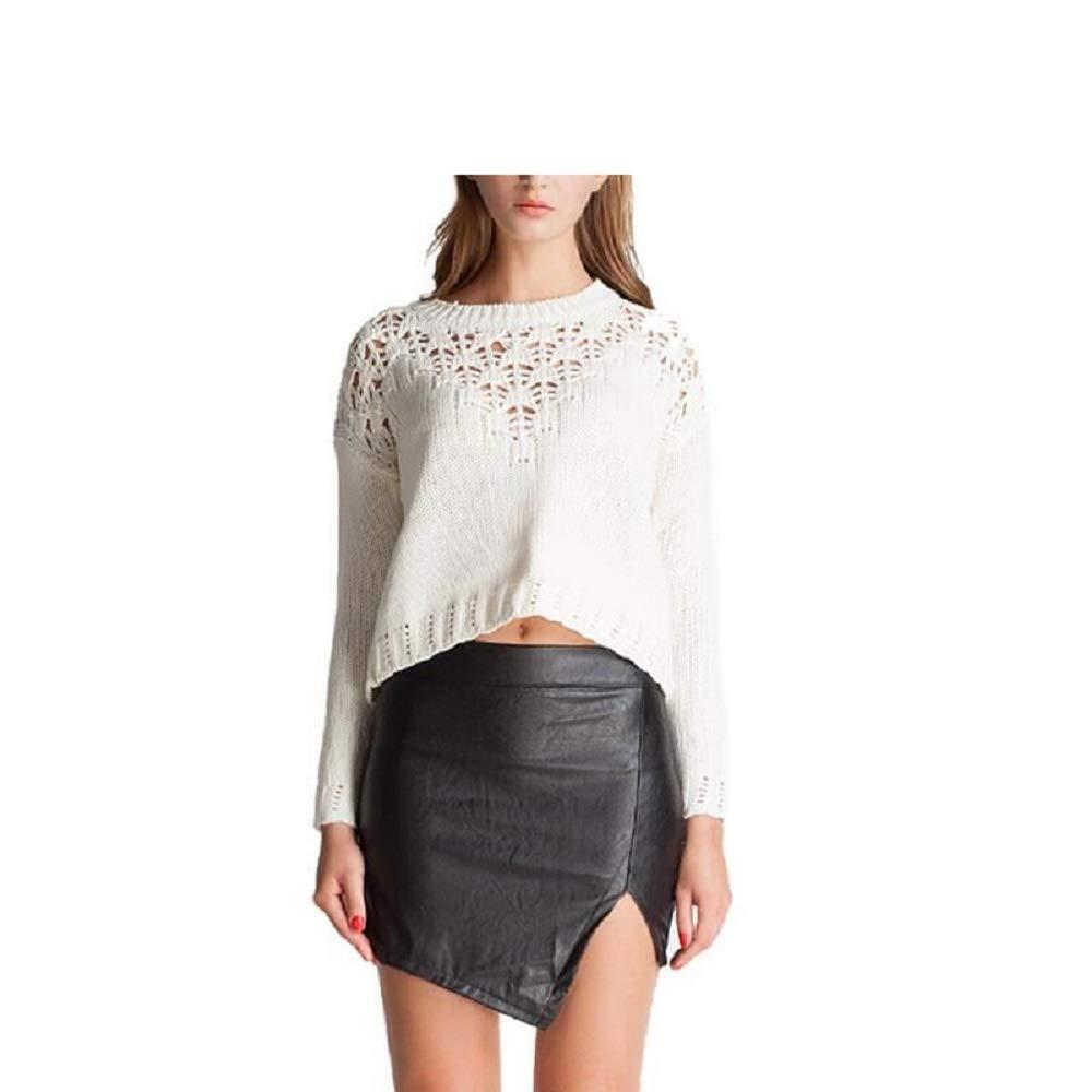 Deawecall Mujeres Sexy Falda con Abertura Lateral Falda de Cuero ...