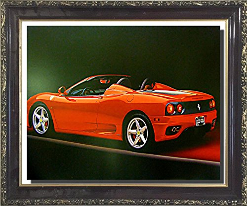Red Ferrari 360 Modena Spider Sports Car Mahogany Black Framed Art Print Picture (20x24) (360 Modena Ferrari Spider)