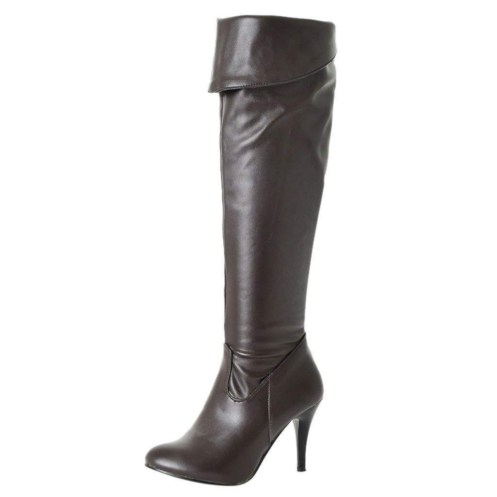 Opinionated Women's Autumn Winter Pointed Toe Stiletto Heels Knee High Boot Leather Thin Heels Shoes Dress Party Boots by Opinionated
