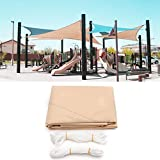 12ft x 12ft x 12ft Beige Triangle Sun Shade Sail Water Resistant Canopy Awning Tent Roof UV Screen Shelter Protection Net Mesh Cover