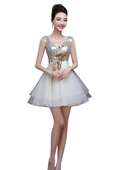 TOPJIN Teen Girls Short A Line Sequins Tulle Homecoming Graduation Prom Party Dresses Ball Gowns Champagne