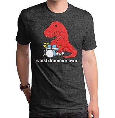 Worst Drummer Ever T-Rex Mens Charcoal Heather T-shirt