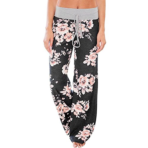 Women's Floral Printed Drawstring Pyjama Lounge Pants (S Waist:66cm, Black)