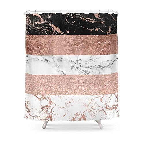 Wecye Modern Chic Color Block Rose Gold Marble Stripes Pattern Shower Curtain 60 x 72 inch