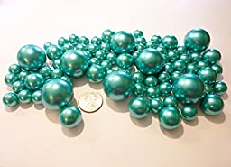 80 Jumbo & Assorted ALL TURQUOISE BLUE Pearls/TEAL Blue Pearls Value Pack Vase Fillers - NOT INCLUDING the Transparent Water Gels for Floating Pearls (Sold Separately)