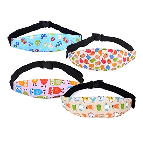 Whthteey 4 PCS Adjustable Baby Head Support Belt Safty Car Seat Toddler Head Strap (Barn Pulley Lights Pottery)