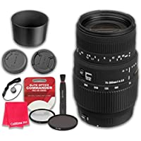 Sigma 70-300mm f/4-5.6 DG Macro Lens for Canon EOS with Elite Optics Commander Pro HD Series Ultra-Violet Protector UV Filter & Circular Polarizer CPL Multi-Coated Filter - International Version