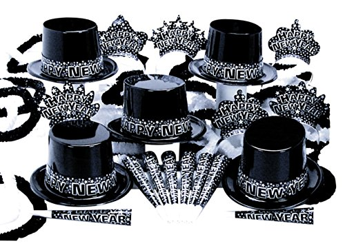 New Year's Eve Party Kit for 10 People 5 Top Hats 5 Tiaras 10 Horns 5 Poly Hawaiian Leis