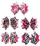 """All Products : Hip Girl Boutique 5pc Large 5"""" Animal Prints & Cherry Printed Spike Hair Bow Clips, Color May Vary"""