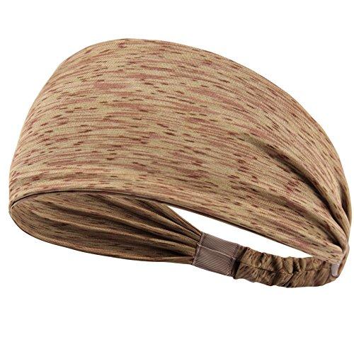 Set Women's Yoga Sport Athletic Headband Sweatband For Running Sports Travel Fitness Elastic Wicking Non Slip Style Bandana Basketball Headbands Headscarf fits all Men & Women (Style 2 - 1 - No Running Headbands Slip