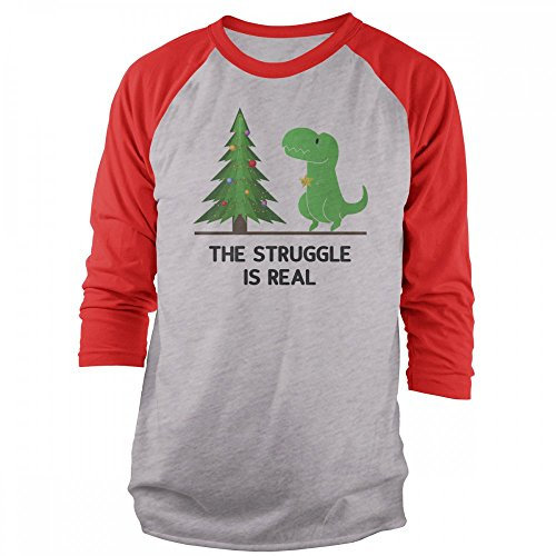 Vine Fresh Tees - T-Rex The Struggle is Real 3/4 Sleeve Raglan T-Shirt - Large, Ash w/Red