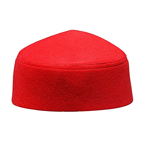 (Solid Red Moroccan Fez-style Kufi Hat Cap w/ Pointed Top (XXL))