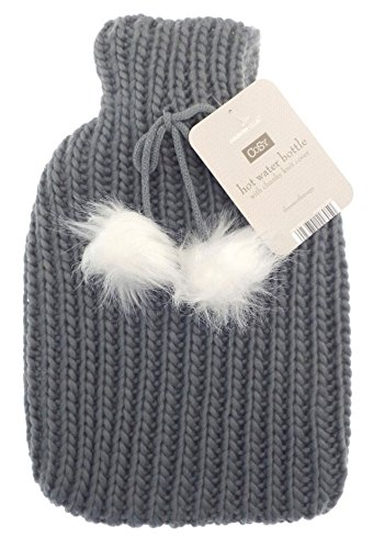 Chunky Knit Hot Water Bottle - 2 litre (2L) - Premium Soft Knitted Pom Pom Cover - Dark Grey/Silver Cryopaq