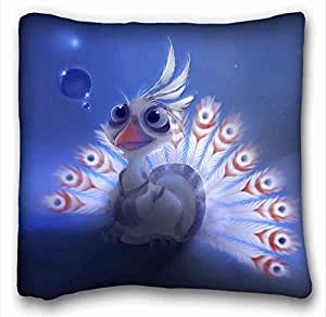Custom Characteristic ( Animal Artistic Cute Bird Peacock Feathers Blue Feather Artistic Animal ) Rectangle Pillowcase 16x16 inches (one side) suitable for King-bed PC-Purple-2593