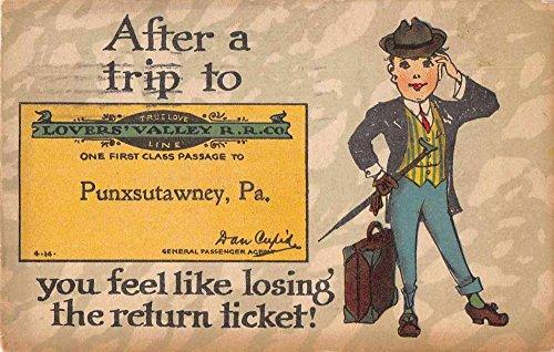 Punxsutawney Pennsylvania After A Trip To man with suitcase antique pc Z41462