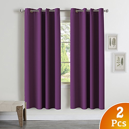 TURQUOIZE Blackout Thermal Insulated Room Darkening Grommet Window Curtain for Bedroom, Plum Purple, 52
